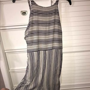 off white and navy striped jumpsuit